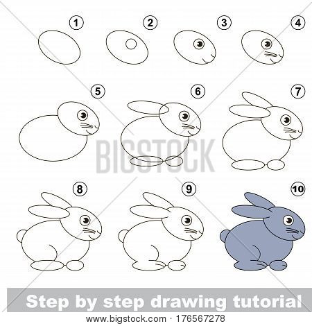 Vector kid educational game to develop drawing skill with easy game level preschool kids education. Funny drawing school. Drawing tutorial for Funny Hare.
