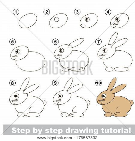 Vector kid educational game to develop drawing skill with easy game level preschool kids education. Funny drawing school. Drawing tutorial for Rabbit.