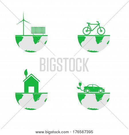 Green earth Bio concept Eco concept Wind energy Solar energy Bicycle icon Alternative energy