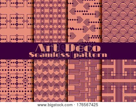 Art deco seamless pattern. Set retro backgrounds. Style 1920's 1930's. Vector illustration