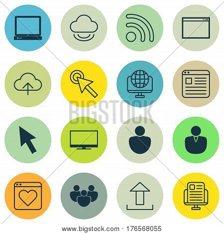 Set Of 16 World Wide Web Icons. Includes Program, Team, Wifi And Other Symbols. Beautiful Design Elements.