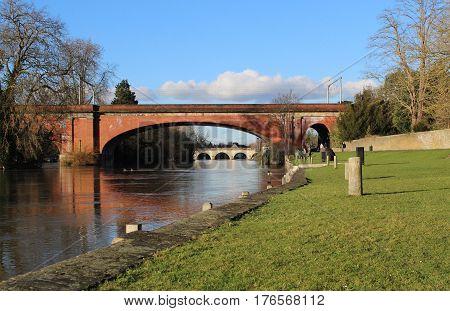 Double bridges on River Thames in Maidenhead, Berkshire UK