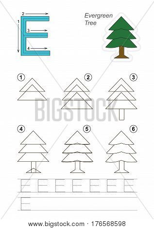 Vector illustrated alphabet with kid educational games to learn handwriting, with easy game level for preschool children. Drawing tutorial for letter E. The evergreen tree.
