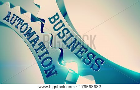 Business Automation Metallic Gears - Enterprises Concept. with Glow Effect and Lens Flare. Metal Gears with Business Automation Inscription. 3D Illustration.