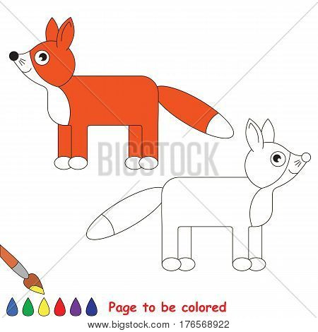 Red fox to be colored. Coloring book to educate preschool kids with easy kid educational gaming and primary education of simple game level of difficulty.