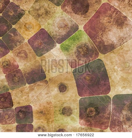 An abstract grungy image of squares curved,  in purple tones