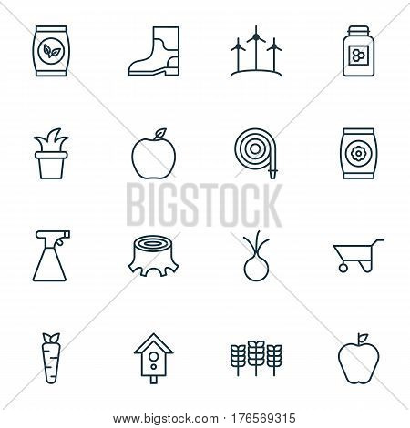 Set Of 16 Farm Icons. Includes Fire Tube, Nectarine, Jar And Other Symbols. Beautiful Design Elements.