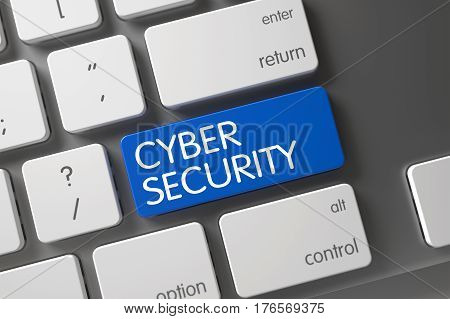 Concept of Cyber Security, with Cyber Security on Blue Enter Button on Metallic Keyboard. 3D Render.