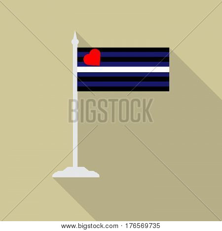 leather fetish pride LGBT flag with flagpole flat icon with long shadow. Vector illustration EPS10.