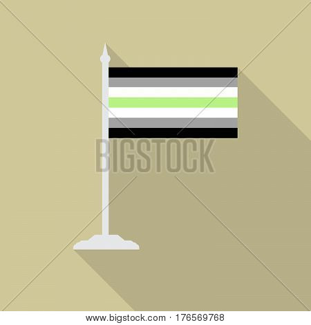 Agender pride flag with flagpole flat icon with long shadow. Vector illustration EPS10 of a rainbow pride flag.