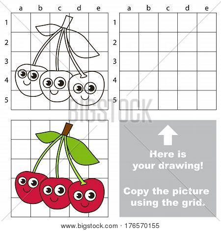 Copy the picture using grid lines. Easy educational kid game. Simple level of difficulty. Copy the Three Cherries.