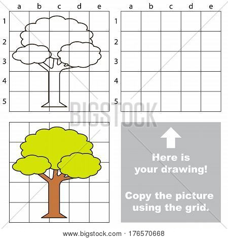 Forest Tree to be duplicated using grid sells. Drawing tutorial to educate preschool kids with easy kid educational gaming and primary education of simple game level of difficulty.