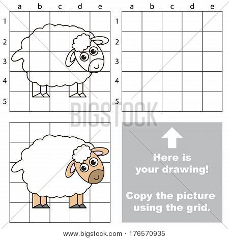 Funny Sheep to be duplicated using grid sells. Drawing tutorial to educate preschool kids with easy kid educational gaming and primary education of simple game level of difficulty.