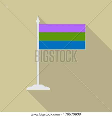 polysexual pride flag with flagpole flat icon with long shadow. Vector illustration EPS10 of a rainbow pride flag.