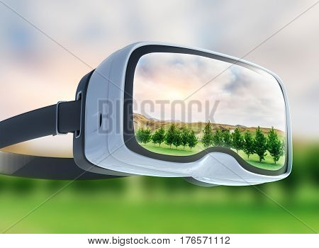 Virtual Reality Headset, Double Exposure, Green Field Under The Sun