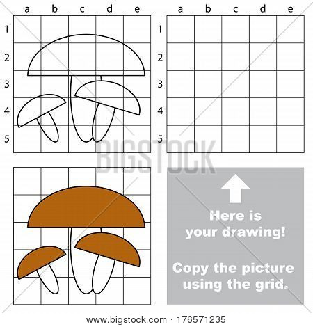 Mushrooms to be duplicated using grid sells. Drawing tutorial to educate preschool kids with easy kid educational gaming and primary education of simple game level of difficulty.