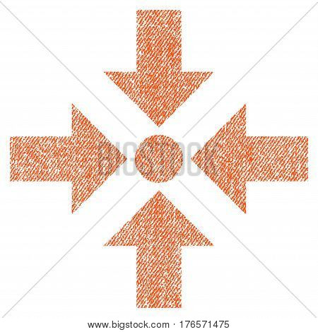 Shrink Arrows vector textured icon for overlay watermark stamps. Fabric orange vectorized texture. Symbol with scratched design. Rubber seal stamp with fiber textile structure.