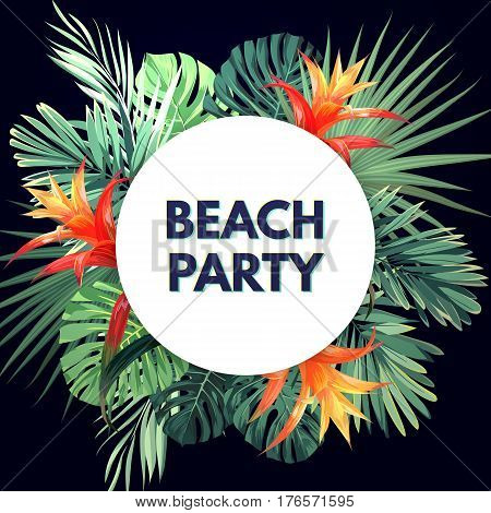 Dark vector tropical background with green plants and guzmania flowers. Exotic summer party flyer design. Vector illustration.