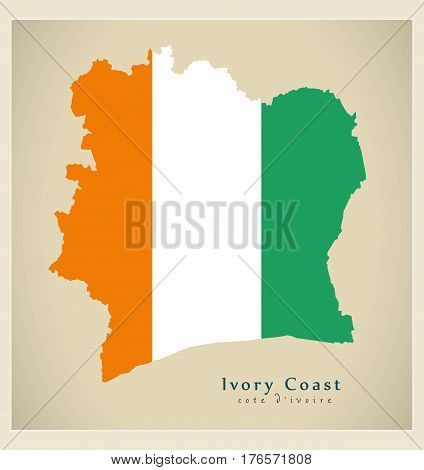 Modern Map - Ivory Coast Flag Colored Ci Illustration Silhouette