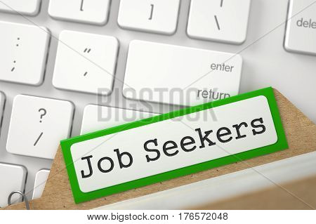 Job Seekers written on Green Folder Register on Background of White PC Keypad. Closeup View. Blurred Illustration. 3D Rendering.