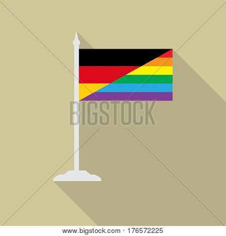 Germany gay pride flag  with flagpole flat icon with long shadowt. LGBT community flag.