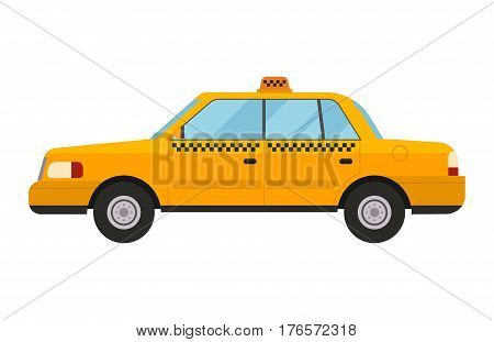 Vector modern flat design illustration on commercial transport yellow retro taxi car and contemporary modern eco friendly hybrid yellow taxi car. Taxi yellow car flat style vector illustration.