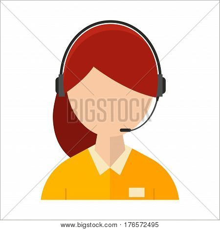 Dispatcher young smiling woman talking on headphone headset. Office graphics and business support. People professional communication job operator service vector illustration. Worker center speak girl.
