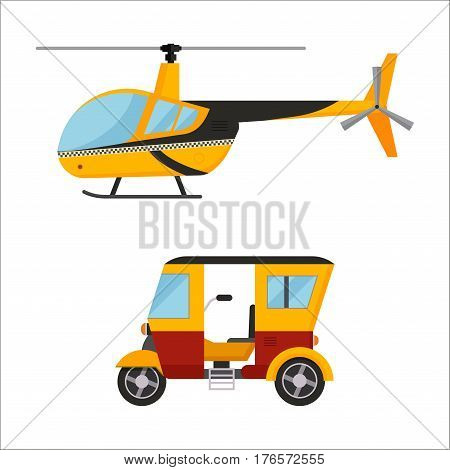 Yellow taxi helicopter, bus vector modern design illustration on commercial transport. Taxi air transport delivery illustration. Vector yellow taxi bus van and cab transport traffic urban.