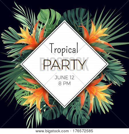 Summer party flyer design with tropical flowers and plants on the dark background. Vector floral illustration.