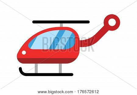 Helicopter vector modern design illustration on commercial transport. Air transport delivery flat style vector illustration. Flying helicopter isolated on white background