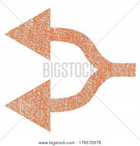 Split Arrows Left vector textured icon for overlay watermark stamps. Fabric orange vectorized texture. Symbol with scratched design. Rubber seal stamp with fiber textile structure.