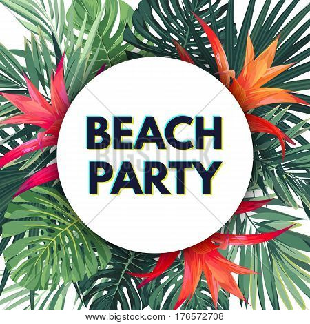 Bright floral banner template for summer beach party. Tropical flyer with green exotic palms and red flowers, vector illustration.