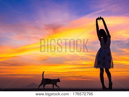 Silhouette of free woman and cat enjoying freedom feeling happy at sunset. Serene relaxing woman in pure happiness