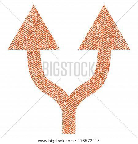 Split Arrows Up vector textured icon for overlay watermark stamps. Fabric orange vectorized texture. Symbol with dirty design. Rubber seal stamp with fiber textile structure.