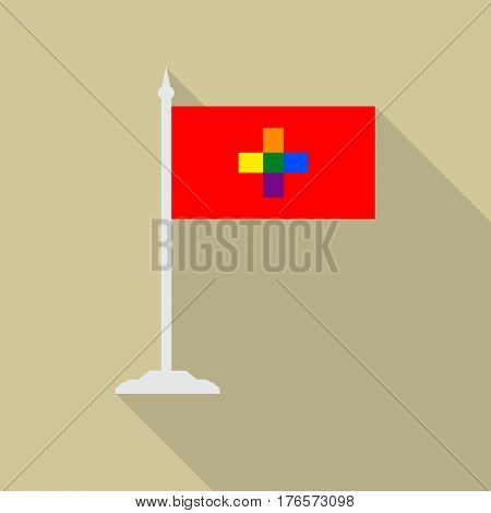 Switzerland gay pride flag with flagpole flat icon with long shadowt. LGBT community flag.