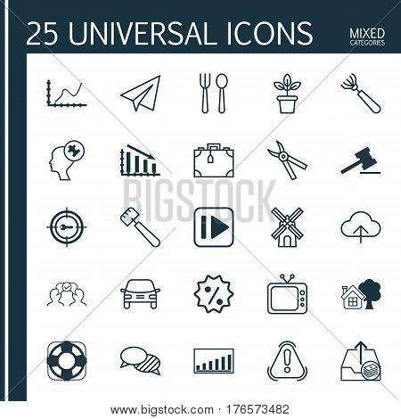 Set Of 25 Universal Editable Icons. Can Be Used For Web, Mobile And App Design. Includes Elements Such As Following Music, Spatula, Speaking And More.
