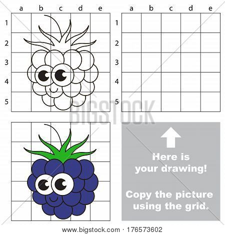 Copy the picture using grid lines. Easy educational kid game. Simple level of difficulty.Copy the Blackberry.
