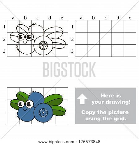 Copy the picture using grid lines. Easy educational kid game. Simple level of difficulty.Copy the Blueberry.