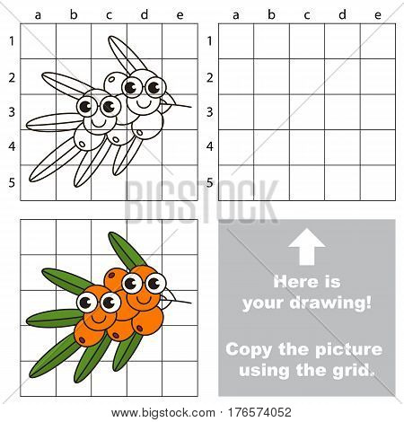 Copy the picture using grid lines. Easy educational kid game. Simple level of difficulty.Copy the Buckthorn.