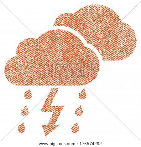 Thunderstorm Clouds vector textured icon for overlay watermark stamps. Fabric orange vectorized texture. Symbol with dust design. Rubber seal stamp with fiber textile structure.
