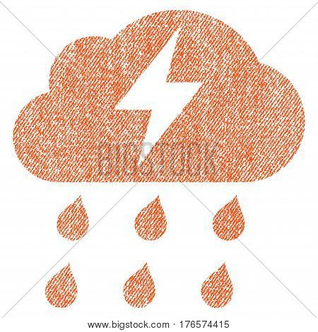 Thunderstorm vector textured icon for overlay watermark stamps. Fabric orange vectorized texture. Symbol with dirty design. Rubber seal stamp with fiber textile structure.