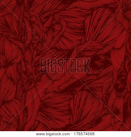 Vector Seamless Wave Doodle Hand Drawn Pattern In Red Colors. Can Be Used For Wallpaper, Pattern Fil