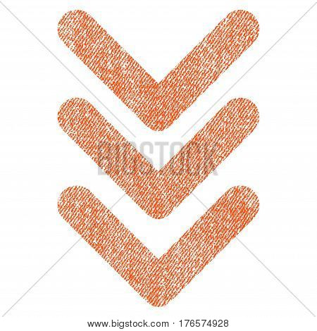 Triple Arrowhead Down vector textured icon for overlay watermark stamps. Fabric orange vectorized texture. Symbol with dirty design. Rubber seal stamp with fiber textile structure.
