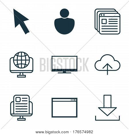 Set Of 9 Internet Icons. Includes Display, Mouse, Website Bookmarks And Other Symbols. Beautiful Design Elements.