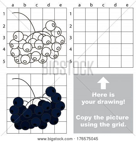 Copy the picture using grid lines. Easy educational game for kids. Simple kid drawing game with Black Choke Berry.