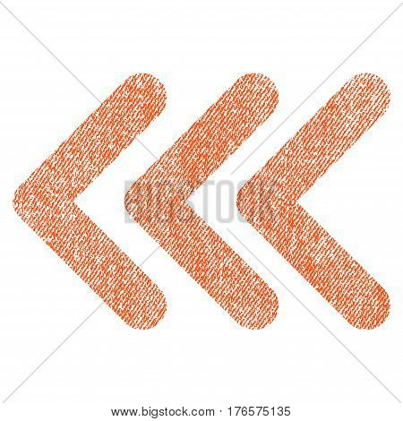 Triple Arrowhead Left vector textured icon for overlay watermark stamps. Fabric orange vectorized texture. Symbol with scratched design. Rubber seal stamp with fiber textile structure.