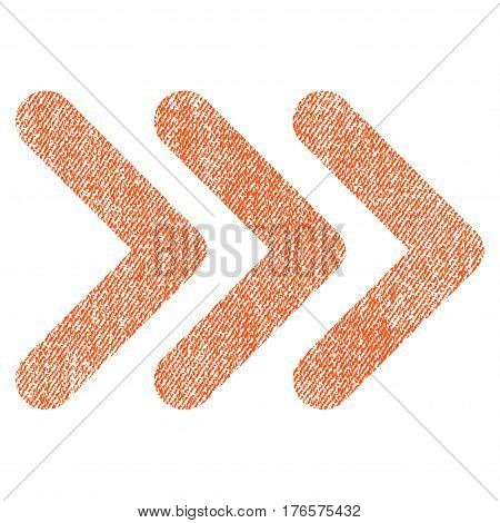 Triple Arrowhead Right vector textured icon for overlay watermark stamps. Fabric orange vectorized texture. Symbol with dust design. Rubber seal stamp with fiber textile structure.