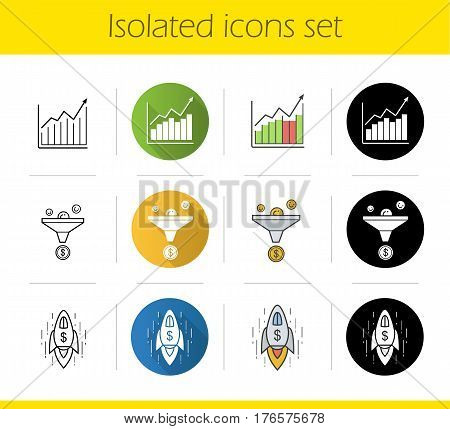 Business icons set. Flat design, linear, black and color styles. Sales funnel, income growth chart, business success. Isolated vector illustrations