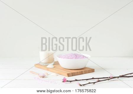 Welness and SPA products on light wooden background