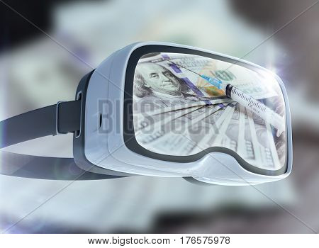 Virtual Reality Glasses, Business, Technology, Internet And Networking Concept. Cocaine, Spoon  Disp